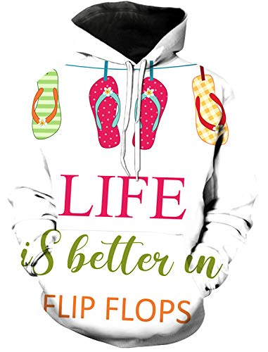 Women and Men's 3D Printed Hoodie, Life is Better in Flip Flops Colorful Slippers Novelty Sweater, Leisure Hoodies with Big Pockets, Drawstring Pullover Hooded Sweatshirts