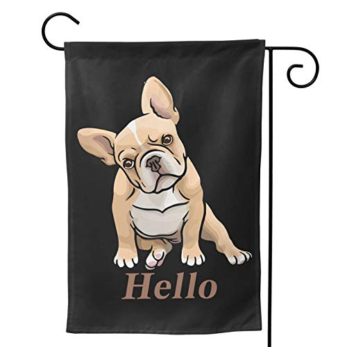 WAZHIJIA Cartoon French Bulldog Garden Flag Vertical Double Sided 12.5 X 18 Inch Yard Outdoor Decor Hello Cute Dog Family Flag