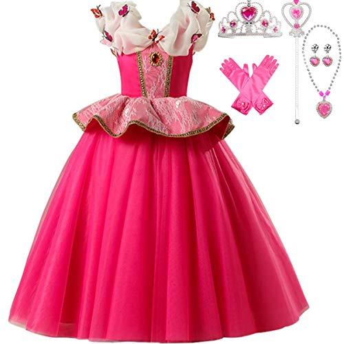 IWFREE Disfraz de Princesa Aurora La Bella Durmiente Niña Vestido Elegante Traje Disfraces Holloween Fiesta Navidad Boda Gala Ceremonia Aniversario Cosplay Costume Chicas