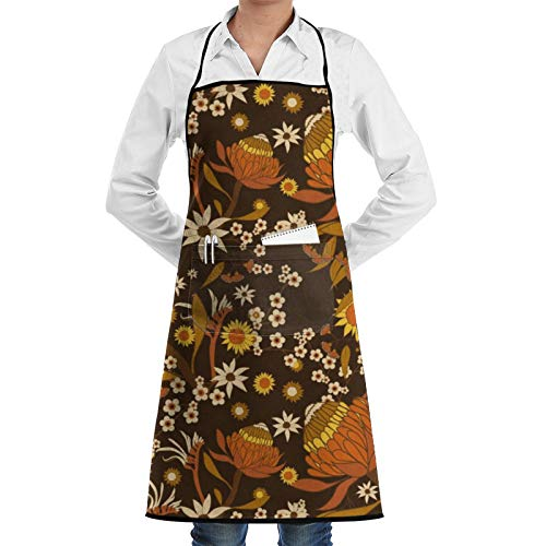 Australian Natives - Tablier de cuisine réglable avec poche - Pour homme et femme - Pour la cuisine, la pâtisserie, les travaux manuels, le jardinage, le barbecue
