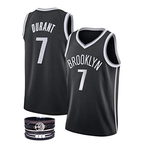 SSLONG Uniforme de Baloncesto de los Hombres clásicos del Chaleco Nº 11 Irving Nº 7 Durant Brooklyn Atleta Jersey Malla Transpirable Negro Serie Ventilador black7-M