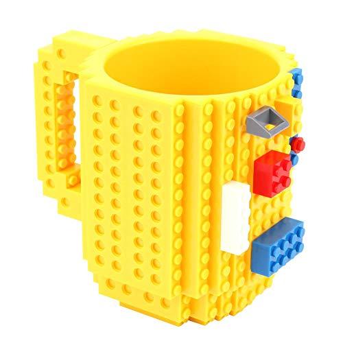 N+A Taza de café con bloques de construcción creativos, ideal para niños, hombres, mujeres, día de San Valentín, cumpleaños