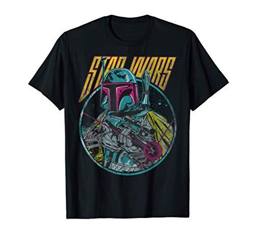 Star Wars Boba Fett Neon Blaster Vintage Camiseta