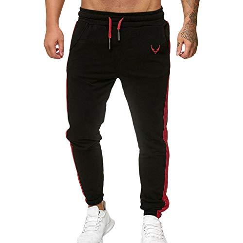 Subfamily Pantalón Deportivo Casual para Hombre, Moda Casual Deportes Al Aire Libre Correr Cordón Imprimir Pantalones Largos Negro S