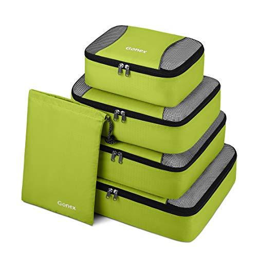 Gonex Set di 5 pezzi Cubi Organizzatori di Valigie Sacchetti Organizer a cubo dei Bagagli Borse di stoccaggio per viaggio Misura piccola media grande (Verdi)