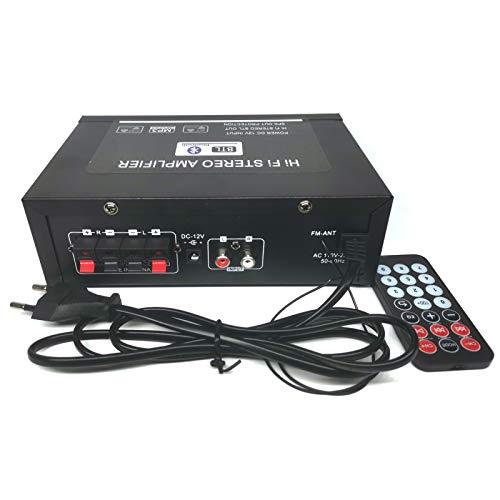 600W Amplificatore, HiFi Audio Stereo BT Radio Portatile per Auto o Casa, con Telecomando ed Mini Display 2CH LCD, 12 V / 220 V
