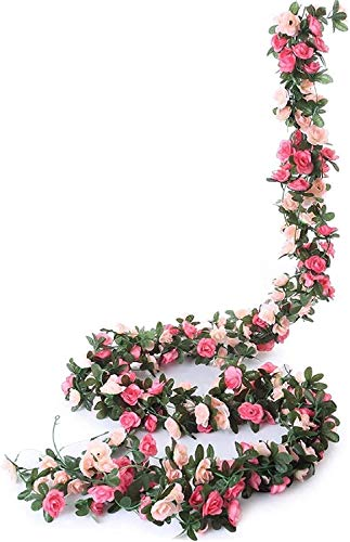 Ruiuzioong Ghirlanda di fiori finti a forma di rosa rampicante, 4 pezzi, fiori artificiali, da appendere a forma di rosa e edera, per matrimoni, arco, sfondo da giardino (rosa)