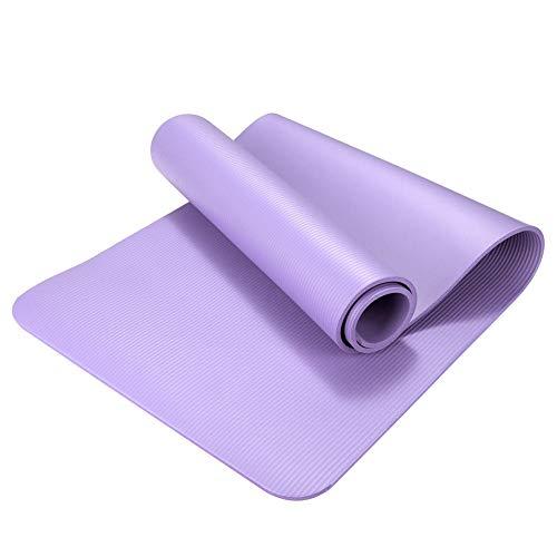 OPIUYS Esterillas de yoga, NBR de 10 mm de color morado claro extra grueso antideslizante, gimnasio deportes baile estera,almohadilla de fitness insípida