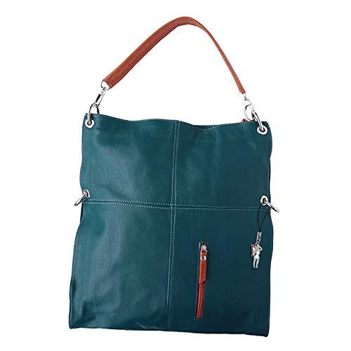 Florence Hobo Bag Echt-Leder Tasche Damen Umhängetasche Schultertasche Beuteltasche dunkelcyan blau tan 37x6x40 inklusive Feenanhänger D1OTF102B Leder Tasche von Florence für die Frau