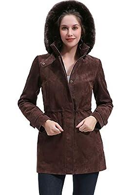 BGSD Women's Hooded Suede Leather Parka Coat Brown Medium Petite