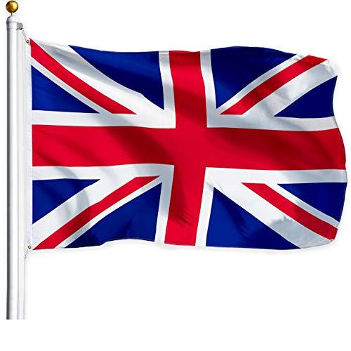 G128 Drapeau Royaume-uni (British, Union Jack) | 3x5 Pieds | imprimé - Couleurs Vives, Laiton, œillets Polyester qualité