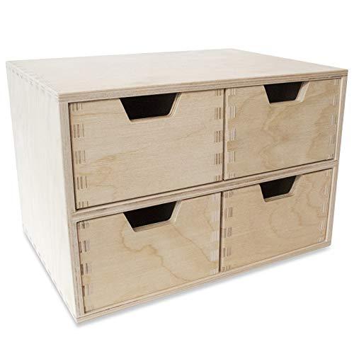 Creative Deco Mini Houten Kist met 4 Laden | Opbergkast | Onbeschilderd multiplex | 28,5 x 20 x 19 cm | Perfect voor Opbergen, Decoupage en Decoreren