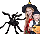 4Ft Giant Huge Black Spider Halloween Decorations,Outdoor Large Size Realistic Fake Hairy Spider Props Decor for Halloween Party, Patio Big Spiderweb Decorations