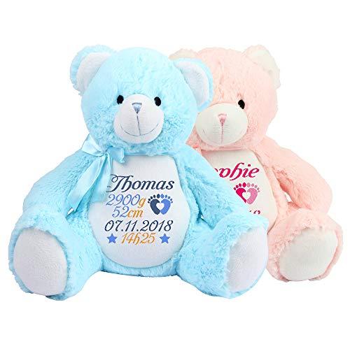 Stofftier, Blau / Rosa Kuscheltier Teddybär, Geburt Taufe Geschenk, bestickt mit Geburt Stats - Datum Namenplüschtier