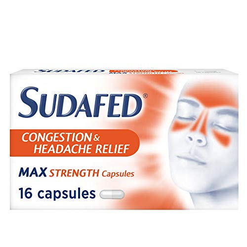 Sudafed Congestion and Headache Relief Max Strength Capsules, Fast and Effective Relief of Cold and Flu Symptoms, 16 Capsules
