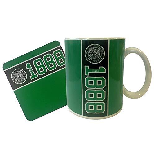 Celtic FC Official Established Mug and Coaster Set (One Size) (Green/Black)