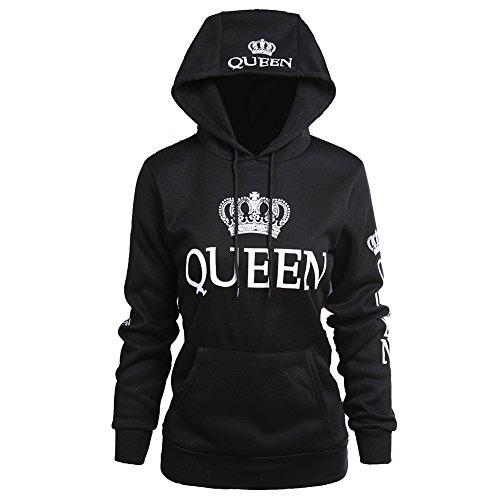 Fenghuo Women's Kangaroo Pocket Queen Hoodie Sweatershirt Black L
