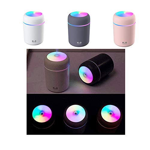 Guanghuansishe LED Luftbefeuchter Mini USB Ultraschall Luftbefeuchter mit 300ml Wassertank, Automatische Abschaltung und Super leise, Bunter Cooler Nachtlichtfunktion für Auto Büroraum Schlafzimmer