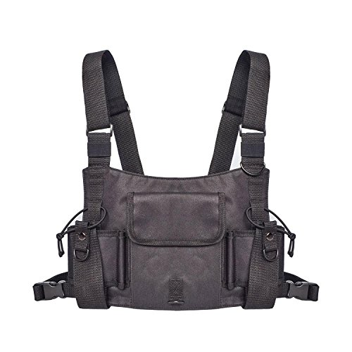 Walkie Talkie Chest Bag,KOBWA Breast Pocket Harness Holster Pocket Pack Two Way Radio Walkie Talkie Radios Carry Bag Accessories Holder