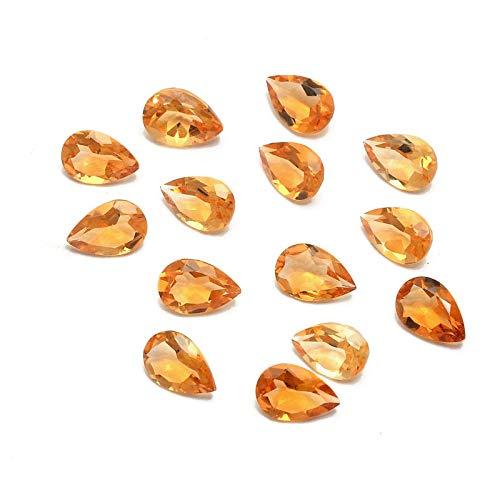 eGemCart Lote de 10 Piezas Natural Citrino 5x3mm de Forma Pera Facetas Cortar la Piedra Preciosa Floja para la fabricación de Joyas   Calidad AAA tamaño calibrado 1mm a 10mm Pera Piedra semipreciosa