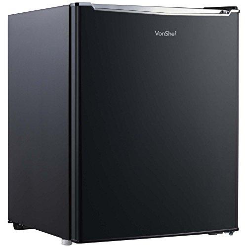 VonShef Mini-Kühlschrank mit Gefrierfach – 75L Tischkühlschrank mit 3 Ablagen, Türablage und Temperaturregelung - H62cm B48cm - Schwarz [Energieklasse A +]