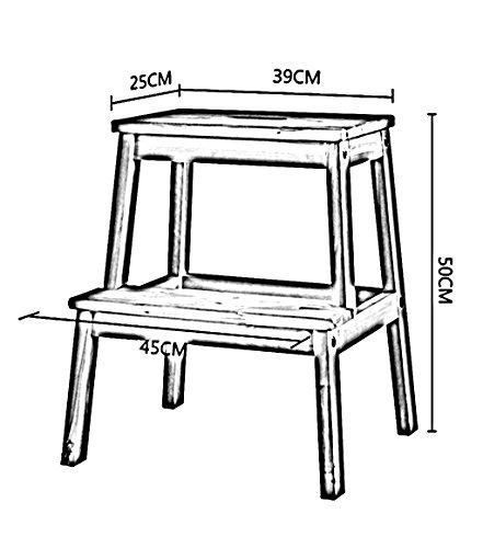XINKONG Holzstufenhocker Zweistufenleiter Klapphocker Einfache Küche, Höhe 50 cm, 6 Farben (Color : Pink)
