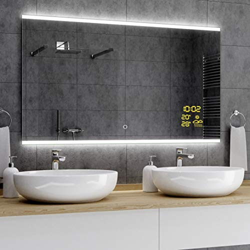 Alasta® Moderne en Verlichte Badkamerspiegel - 100x80 cm - Model Brasil - Spiegel met Aanraaklichtschakelaar en Weerstation P1