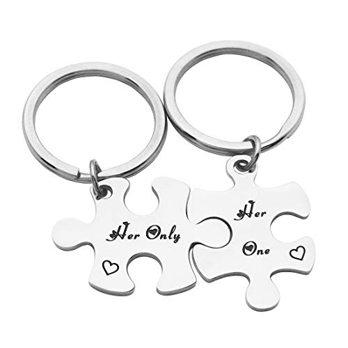 Eilygen Gay Couples Jewelry Stainless Steel Gay Puzzle Piece Keychain Set of 2 LGBT Gift Gay Keychain Gay Couple Gifts (Her One, Her Only)