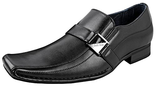 Delli Aldo M-19231 Mens Loafers Dress Classic Shoes with Leather Lining,Black,9.5