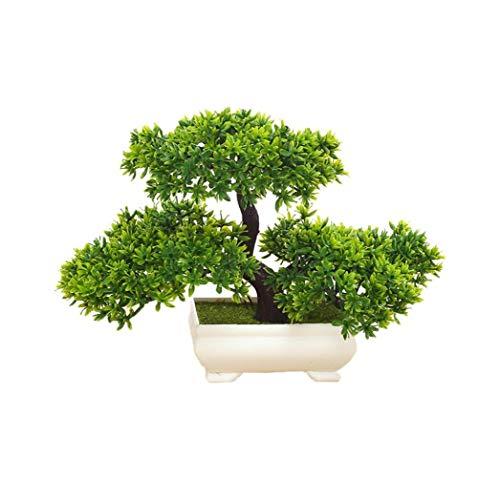 iHOMIKI Las Plantas Artificiales Bonsai de simulación de árbol para el hogar y la Oficina Interior Plantas Adornos Decorativos Mini Emular Bienvenida Pino (Verde)