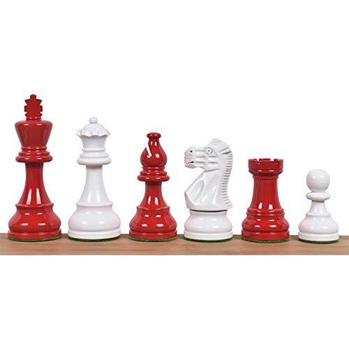 RoyalChessMall-3.8 'Juego de ajedrez Staunton Pintado en Rojo y Blanco Pintado - Madera ponderada