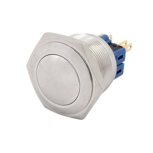 DealMux AC 5A 250V 25mm 0.98 pulgadas rosca de montaje abovedada redonda 1NO 1NC DPST Interruptor de presión impermeable de metal de acero inoxidable actualmente reconocido por la CE