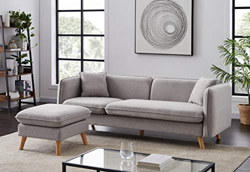Infini Furnishings Reversible Sofa Sectional, Light Gray