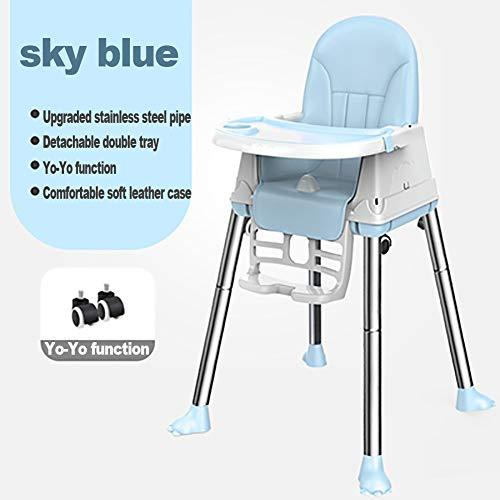 Chaise de sécurité pour bébé avec Dossier, matériau PP de sécurité pour bébé, Pliable et Pratique, Table spéciale pour Enfants, réglable avec verrou de sécurité pour 6 Mois à 4 Ans-Blue