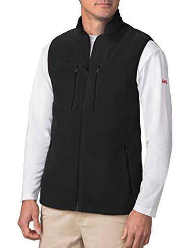 SCOTTeVEST Fireside Fleece Vests for Men - 15 Pockets - Warm Fleece Travel Vest BLK L