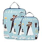 Organizadores de embalaje de viaje para novios, parejas, boda, compresión, cubos de embalaje de viaje, bolsas de viaje expandibles, organizador para equipaje de mano, viaje (juego de 3)