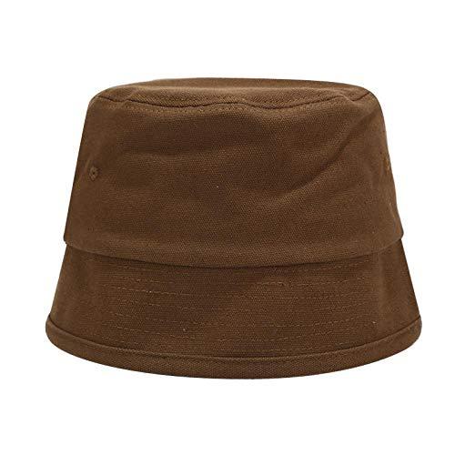 Bucket Hat Chapeau Couleur Unie Rétro Seau Chapeau Bassin Chapeau Hommes Et Femmes Tendance De La Rue Pur Coton Chapeau De Pêcheur Soleil Empêcher Les Chapeaux Une Taille Café