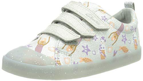 Clarks Mädchen Foxing Print K Sneaker, Silver Canvas,35 EU