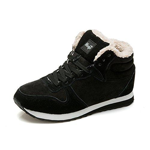 gracosy Herren Damen Sneakers, Turnschuhe Laufschuhe Freizeit Schnürer Sportschuhe Leicht mit Warm Gefüttert Schuhe Winter Schwarz 45