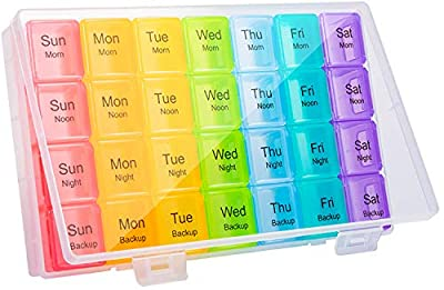 Doruimi Weekly Pill Box Organiser, Extra Large Pill Box 7 Day 4 Times A Day, Pill Organiser with 28 Copartments to Hold Plenty of Medication, Vitamins and Supplements