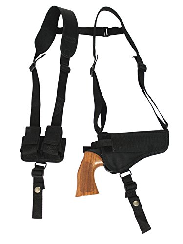 Barsony New Horizontal Shoulder Holster w/Speed-Loader Pouch for S&W N 57 625 627 629 M&PR8 Left