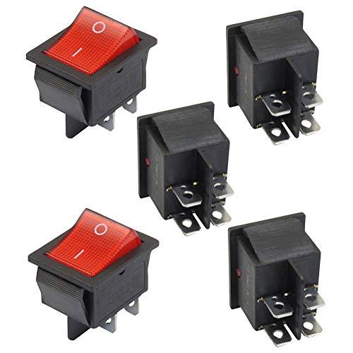DDG EDMMS 5 x rotes Licht Ein-/Aus-Schalter DPST Kippschiff 16A / 250V 20A / 125V AC Werkzeug zum Basteln
