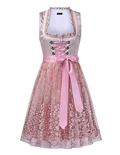 KOJOOIN Dirndl Damen Mid Trachtenkleid mit Spitzenschürze 2tlg. für Oktoberfest Rosa 38