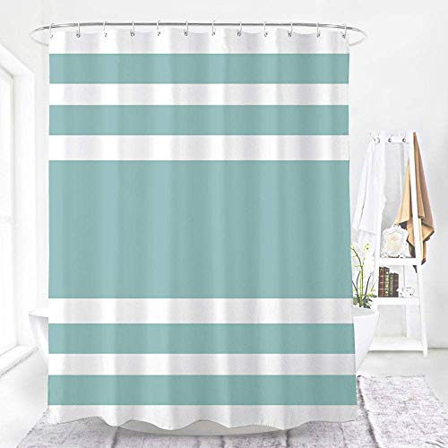 WELTRXE Stripe Shower Curtain Waterproof Fabric with Hooks Machine Washable Polyester Bathroom Shower Curtains Set, 72 x 72 inches, Aqua Stripe