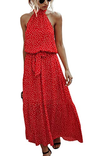 ECOWISH Women Dress Halter Neck Boho Floral Print Sleeveless Casual Backless Maxi Dresses with Belt 259 Red Small