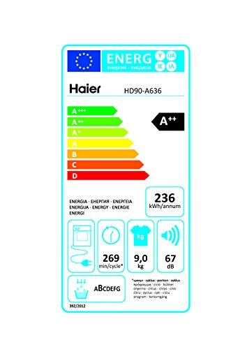 Haier HD90-A636 Wärmepumpentrockner/A++ / Edelstahltrommel/Trommelinnenbeleuchtung/Weiß - 6