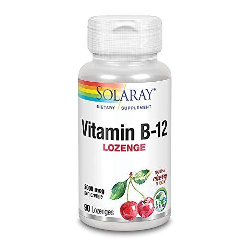 SOLARAY Vitamina B-12 2000mcg | Sabor a cereza natural sin azúcar | Energía saludable y soporte de glóbulos rojos | Sin Gluten | Apto Para Veganos | 90 Lozenges