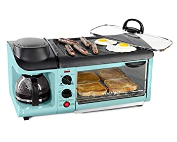 Nostalgia Retro 3-in-1 Family Size Electric Breakfast Station Coffeemaker Griddle Toaster Oven Aqua
