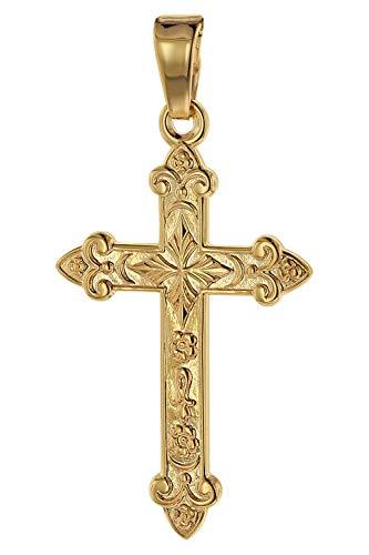 trendor Kreuz-Anhänger Gold 750 (18 Karat) 32 x 16 mm Damen und Herren Goldanhänger, Kreuzanhänger, Geschenkidee, eleganter Schmuck aus Echtgold 75104