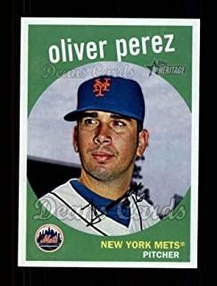 2008 Topps Heritage # 691 Oliver Perez New York Mets (Baseball Card) Dean's Cards 8 - NM/MT Mets